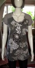 Floral And Striped Long Length Next Top With Sparkly Bits Size 10