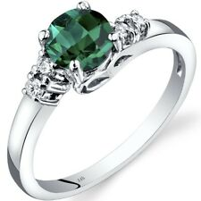 14K White Gold Created Emerald Diamond Solstice Ring Size 7