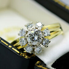 Vintage 18ct Yellow Gold 1.00ct Diamond Cluster Ring
