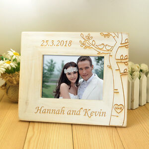 """Personalized Photo Frame Wooden Couple Pictures Frames 5"""" photo Anniversary Gift"""