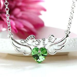 Women Jewelry Green Crystal Rhinestone Angel Wings Charm Silver Pendant Necklace