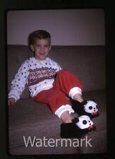 1965 Kodachrome Photo slide Young Boy with Panda slippers