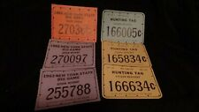 Lot of 6 Vintage 1960's New York Big Game & Hunting Tags Citizen Resident