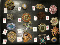 PICK A BROOCH PIN- VINTAGE -NOW- STUNNING STONES EYE CATCHING ROUND ETC BN62