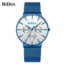 BIDEN Mens Japan Quartz Watches Stainless Steel Band Calendar Watch Waterproof