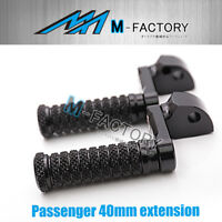 40mm Passenger Extended BLACK CNC Foot Pegs Fit Yamaha FJR 1300 01 02 05