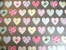 2 Sheets 2 Tags Pastel Heart Silver Background Wrapping Paper Mothers Day Wrap