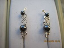 Pr Sterling Silver Filled Wire Faux Pearl Ear Vines Climbers Ear Pins .... 021