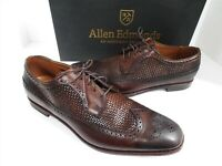 Allen Edmonds Leiden Weave 14 B Chili Brown Leather Wing Tip Dress Loafers USA
