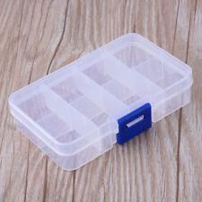 10pcs Rectangle Clear Plastic Bead Container 8 Compartment Storage Box 10.8x7cm