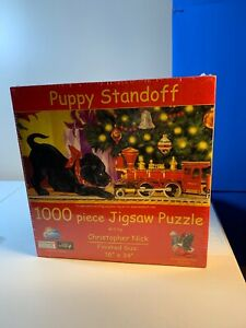 """Suns Out 1,000 Piece Jig Saw Puzzle Puppy Standoff Finished Size 16"""" X 34"""" New"""