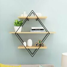 Metal & Bright Wood Wall Shelf Bookcase Floating Display Shelves