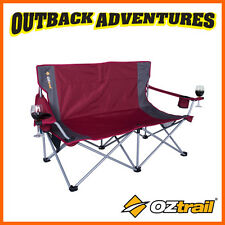 OZTRAIL LUNA DOUBLE 2 SEATER CHAIR with arms - RED TWIN CAMP BEACH 2 SEATS CHAIR