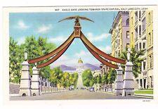 Eagle Gate Looking Toward State Capitol-Salt Lake City -Utah- Postcard