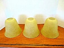 """SET OF 3 PALE GOLD  BELL SHAPED SATIN GLASS LAMP SHADES - 5 1/s"""" Tall"""