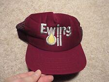 NOS RARE Vintage EWING OIL Trucker Red Cap Hat Snapback MESH BACK USA