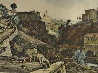 Smith nach J D HARDING (1798-1863) kolor Stich um 1860: ITALIENISCHES ALPEN-DORF