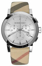 BOX SET Burberry Men's Swiss Leather Strap Nova Check Chronograph Watch BU9357