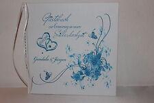 Hardcover Gästebuch zur Silberhochzeit , türkis blau