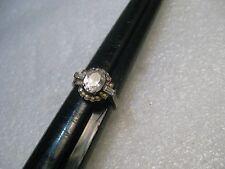 Vintage Sterling Clear Stone Ring, size 8.25, Fashion/Engagement Stile, 3.60 gr.