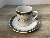 LEART Demitasse Cup & Saucer Espresso Cup Made in Brazil Floral Motif Gold Trim