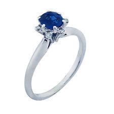 18Ct Oro Blanco Diamante Zafiro Azul Anillo Talla 6 100% Auténtico Septiembre
