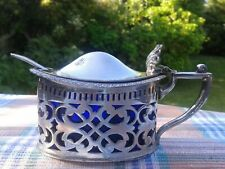 More details for stunning antique english silver plate mustard pot large vgc