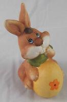 Ostern Osterhase Hase mit großem Ei Orange 12 x 9 cm Keramik Osterdeko Deko Neu