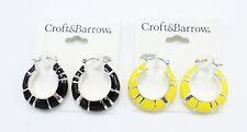 Beautiful New Black and Yellow Hoop Earrings by Croft & Barrow #E1271
