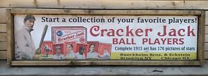 """Antique Style 1915 Cracker Jack Baseball Card Ad Wood Printed Sign  Ty Cobb 48"""""""
