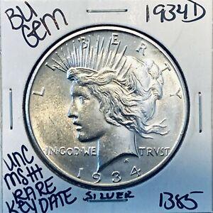 1934 D BU GEM PEACE SILVER DOLLAR UNC MS++ U.S. MINT RARE KEY COIN 1385