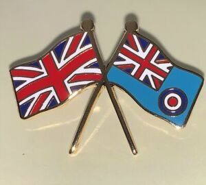 RAF Ensign and  Union Jack crossed flag 25mm Pin badge