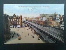 Nederland ansichtkaart Rotterdam Kerkplein en viaduct Binnenrotte met trein 1922