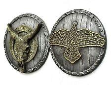 Odins Raven and Longhorn carved skull Wall Sculpture 3d Room Decor Husband Gift