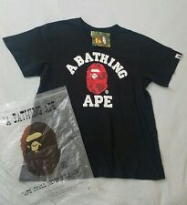 Men's Bape A Bathing Ape Black College T-Shirt Red Ape Size Medium