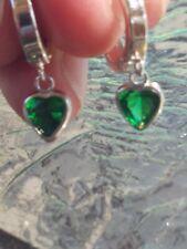 Emerald Heart Cut Hoop Earrings 14kt Solid White Gold