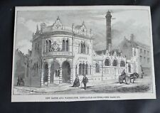"""1859 Engraving 'New Wash-House and Baths, Newcastle-Upon-Tyne' 6.25"""" x 4.5"""""""