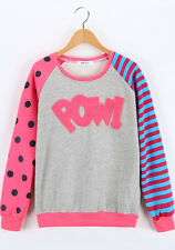 Asian Korean Womens Fashion Style Casual Cute Pow! Polka Dot Stripes Sleeves Top
