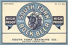 New listing South Fork Bock Beer Label, Irtp -era, South Fork Brewing Co., South Fork , Pa