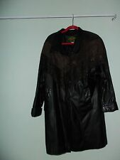 AVANTI Black Leather Coat Ladies Size SMALL Dress Length Soft as Butter!