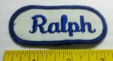 Ralph Embroidered Name Oblong Sew-On Patch Italicized Blue Letters on White