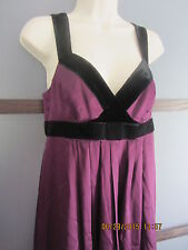 Banana Republic Dress 4 Silk spandex Purple Black Velvet Trim Stretch Chic Comfy