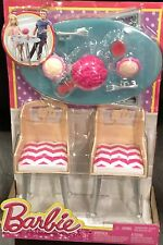 Dinner Date Barbie Set 2 Chairs w/ Barbie Logo Food Cups Table Flowers Forks NEW