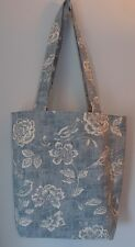Handmade Ladies Tote Bag Internal Pockets - Denim Bird Garden