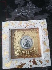 1oz. 2020 Silver Britannia £2 999 Fineness coin in gold foil wooden box frame !