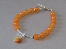 Orange Jade & Puffy Love Heart Charm Elegant Beaded Bracelet, Stunning !!