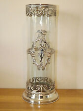 More details for art nouveau glass vase with silver plated overlay swag borders & central motif