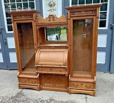 Vintage Antique Oak Double Side By Side Roll Top Secretary Bookcase Desk