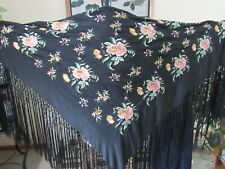 Antique Embroidered Silk Shawl Victorian Black Silk Piano Shawl Pastel Floral 50