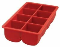 """HIC Big Block Extra Large 2"""" x 2"""" Cubes Silicone Drink Ice Cube Tray - Red"""